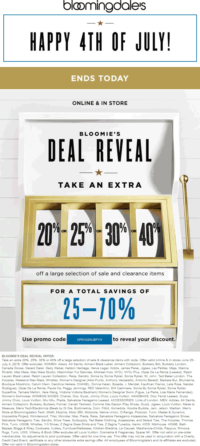 Bloomingdales Coupon April 2018 30% off sale & clearance today at Bloomingdales, or online via promo code XP0VX8WJBFYH