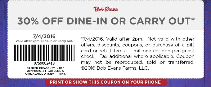 Bob Evans Coupon June 2017 30% off today at Bob Evans restaurants