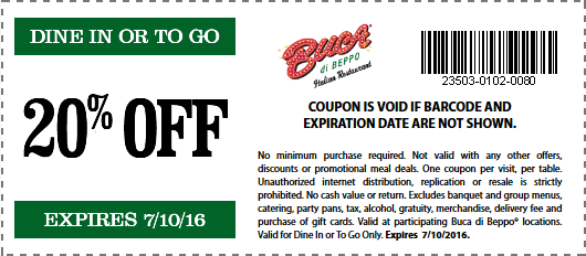 Buca di Beppo Coupon October 2016 20% off at Buca di Beppo Italian restaurants