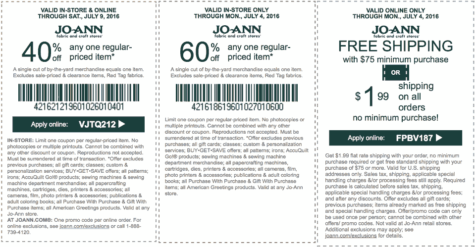 Jo-Ann Fabric Coupon August 2018 40% off a single item at Jo-Ann Fabric, or online via promo code VJTQ212