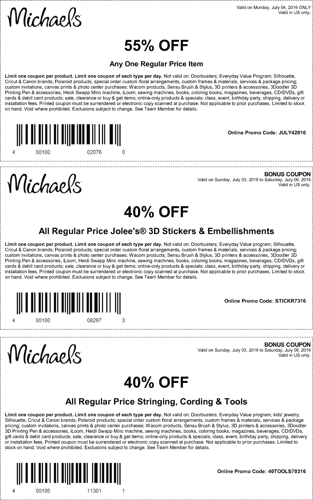 Michaels Coupon August 2017 55% off a single item today at Michaels, or online via promo code JULY42016