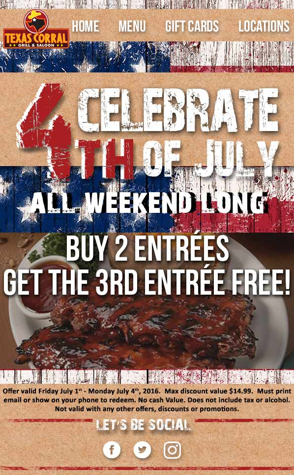 Texas Corral Coupon May 2017 3rd entree free today at Texas Corral