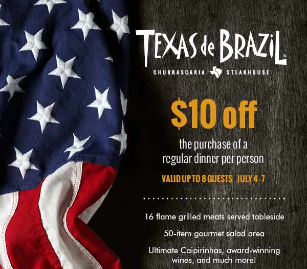 Texas de Brazil Coupon March 2018 $10 off dinner at Texas de Brazil steakhouse restaurants