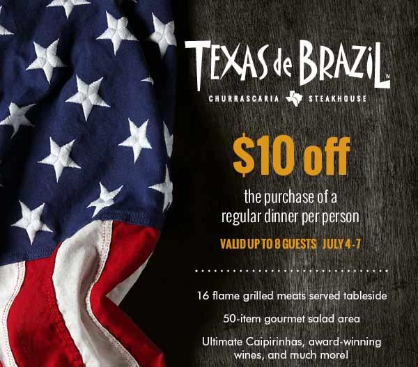 Texas de Brazil Coupon June 2017 $10 off dinner at Texas de Brazil steakhouse restaurants