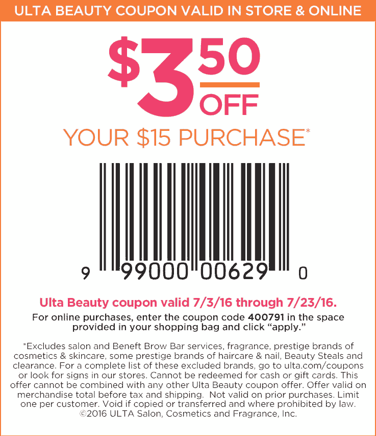 Ulta Beauty Coupon September 2017 $3 off $15 at Ulta Beauty, or online via promo code 400791