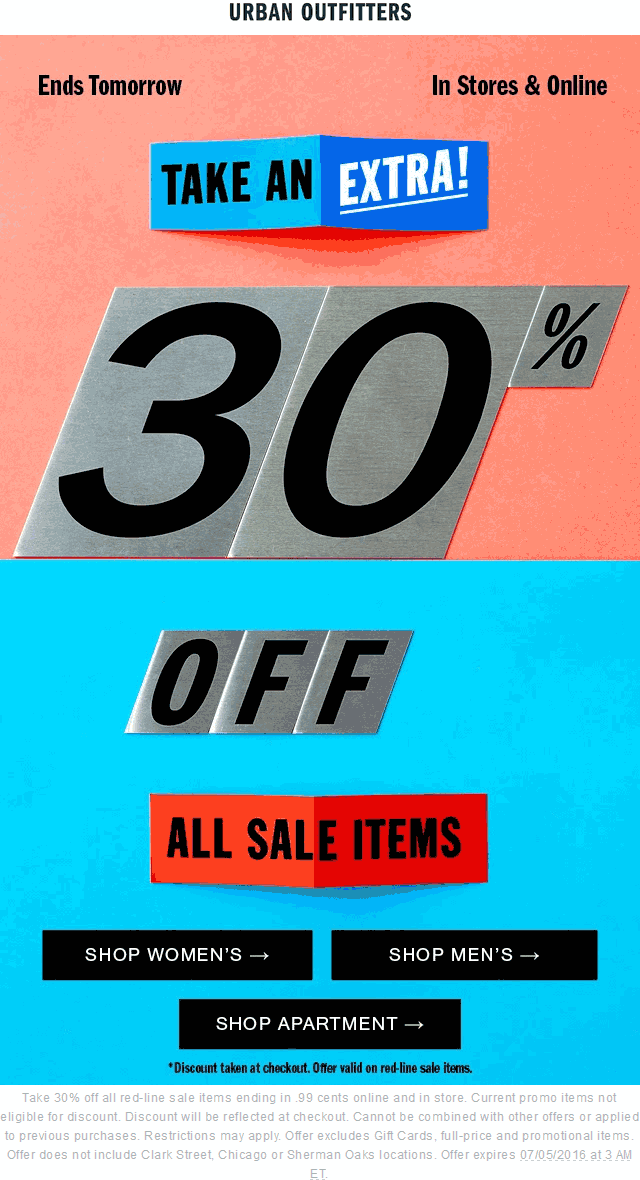 UrbanOutfitters.com Promo Coupon Extra 30% off sale items today at Urban Outfitters, ditto online