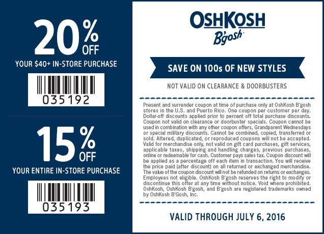 OshKosh Bgosh Coupon July 2017 15-20% off at OshKosh Bgosh