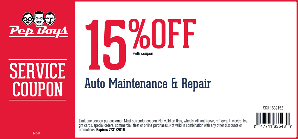 PepBoys.com Promo Coupon 15% off auto repairs & maintenance at Pep Boys