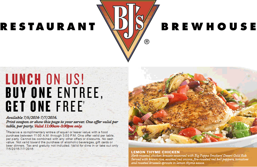 BJs Restaurant Coupon May 2017 Second lunch free at BJs Restaurant & brewhouse