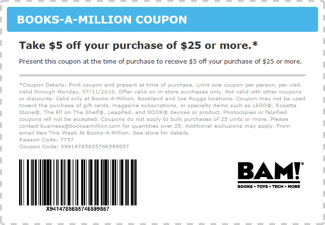 Books-A-Million Coupon August 2018 $5 off $25 at Books-A-Million