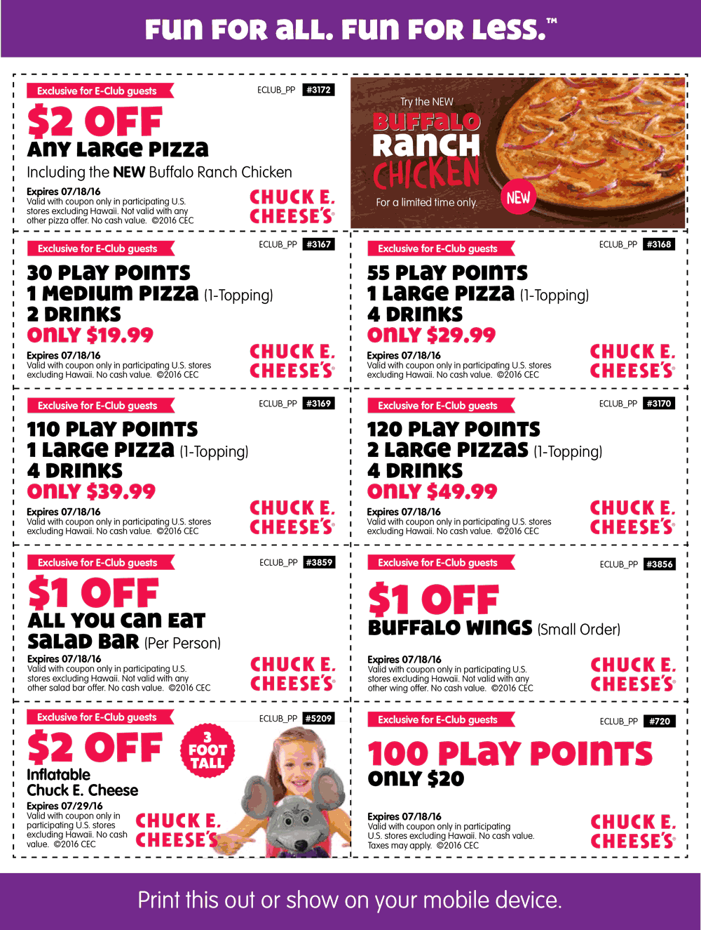 Chuck E. Cheese Coupon January 2018 100 tokens for $20 & more at Chuck E. Cheese pizza