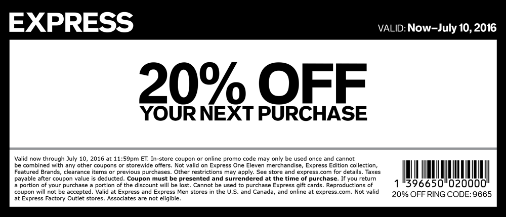 Express Coupon December 2016 20% off at Express, or online via promo code 9663