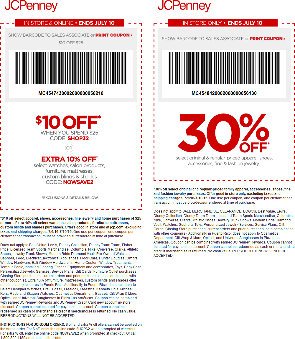 JCPenney Coupon August 2017 $10 off $25 & more at JCPenney, or online via promo code SHOP32