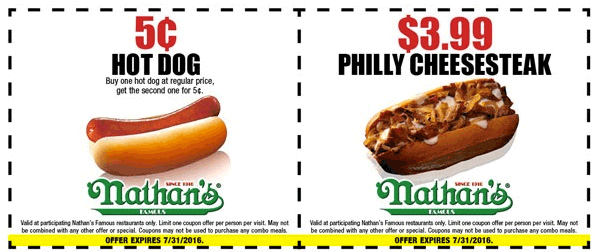 Nathans Famous Coupon December 2016 5 cent hot dog at Nathans Famous