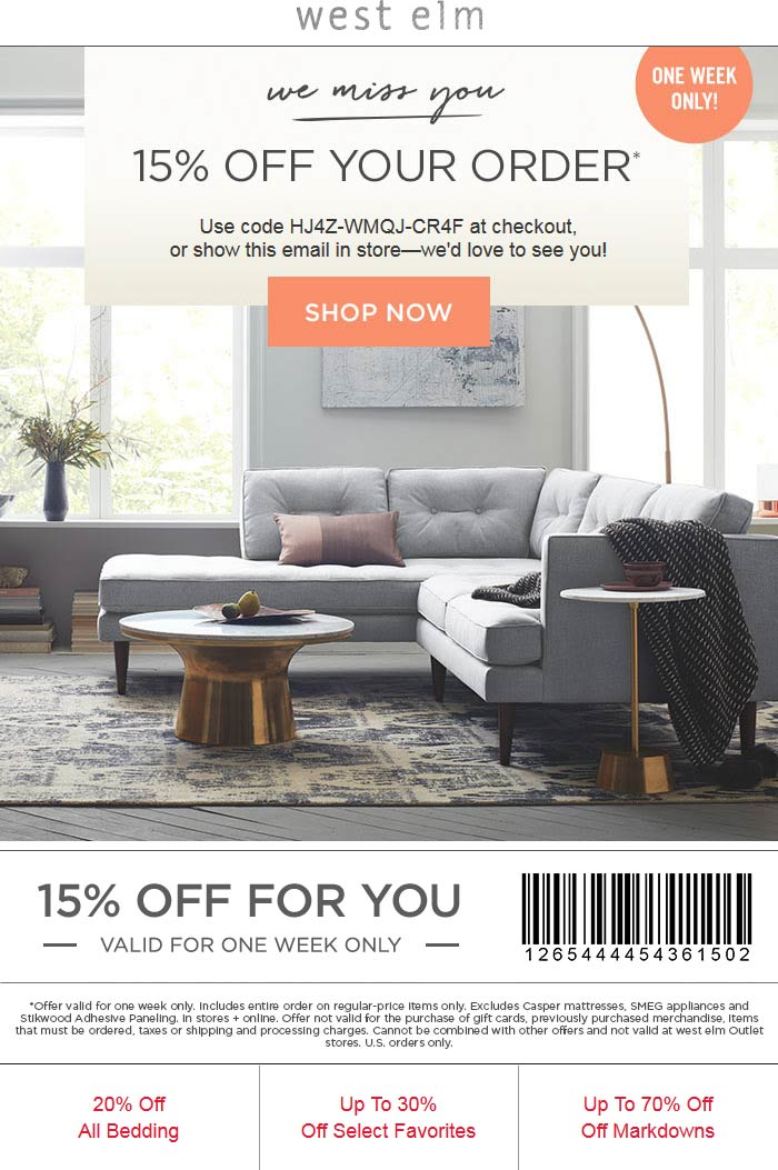 West Elm Coupon January 2017 15% off at West Elm, or online via promo code HJ4Z-WMQJ-CR4F