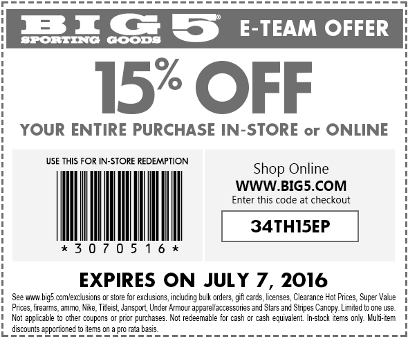 Big 5 Coupon June 2017 15% off today at Big 5 sporting goods, or online via promo code 34TH15EP