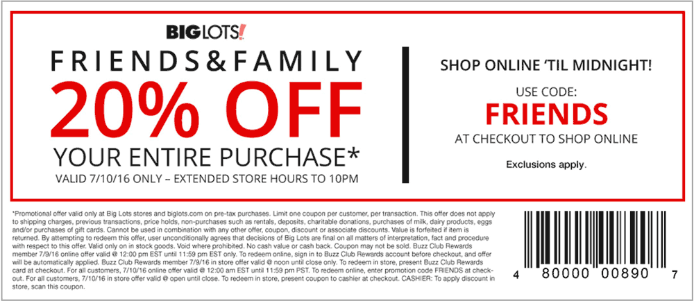 Big Lots Coupon May 2017 20% off everything Sunday at Big Lots, or online via promo code FRIENDS