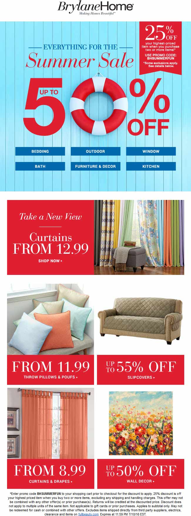 Brylane Home Coupon June 2017 25% off a couple items online at Brylane Home via promo code BHSUMMERFUN
