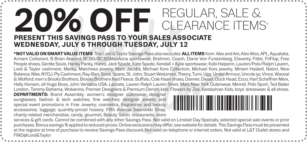 Lord & Taylor Coupon August 2017 20% off at Lord & Taylor, or online via promo code LTLOVE