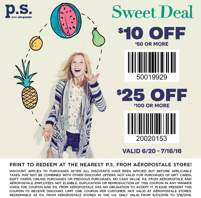 PS from Aeropostale Coupon June 2017 $10 off $50 & more at P.S. from Aeropostale