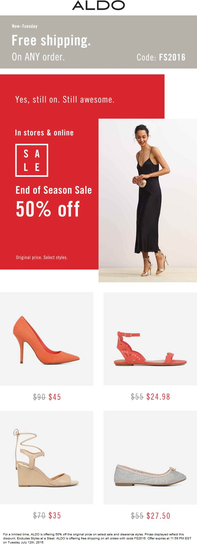 Aldo Coupon October 2017 50% off sale going on at ALDO, or online with free shipping via promo code FS2016