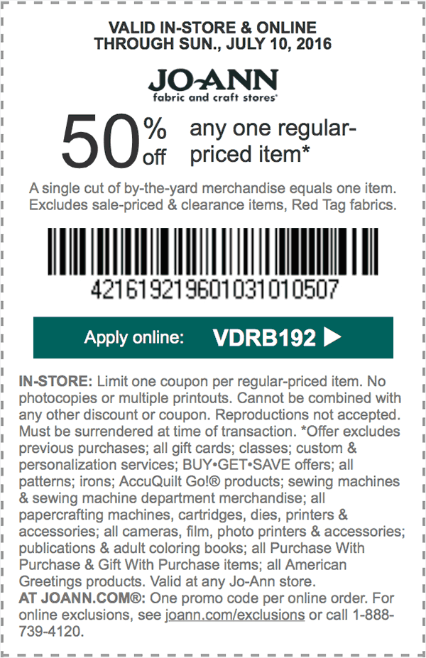 Jo-Ann Fabric Coupon May 2018 50% off a single item at Jo-Ann Fabric, or online via promo code VDRB192
