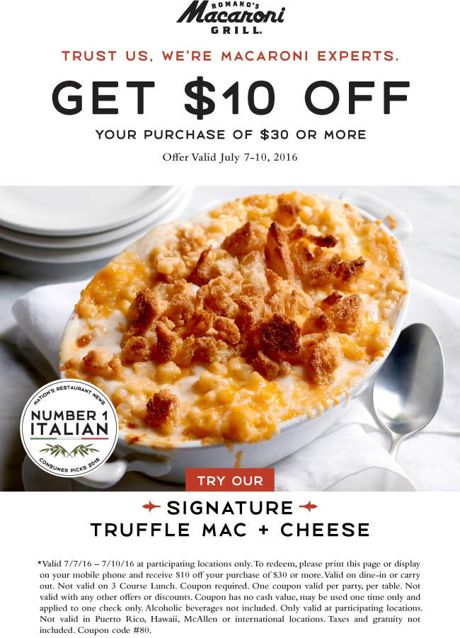 Macaroni Grill Coupon January 2018 $10 off $30 at Macaroni Grill restaurants