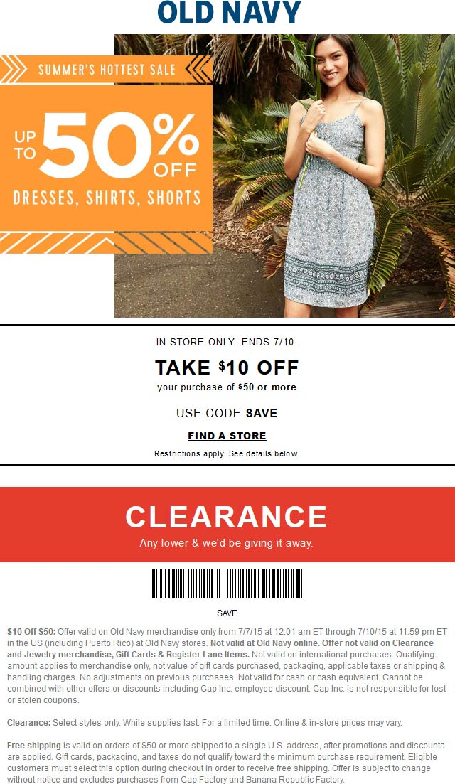 Old Navy Coupon August 2018 $10 off $50 at Old Navy