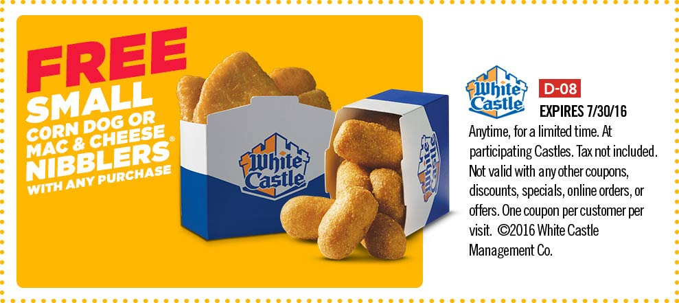 White Castle Coupon July 2017 Free corn dog or mac & cheese nibblers at White Castle