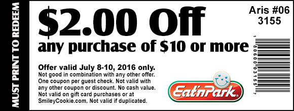 Eat n Park Coupon February 2017 $2 off $10 at Eat n Park