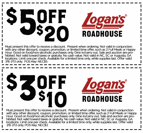 Logans Roadhouse Coupon June 2017 $3 off $10 & more at Logans Roadhouse restaurants