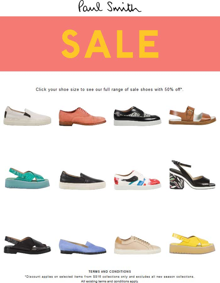 Paul Smith Coupon July 2017 50% off shoes at Paul Smith, ditto online
