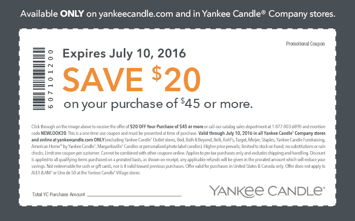 Yankee Candle Coupon November 2017 $20 off $45 at Yankee Candle, or online via promo code NEWLOOK20