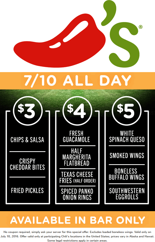 Chilis Coupon September 2017 Cheap appetizers today at the bar in Chilis