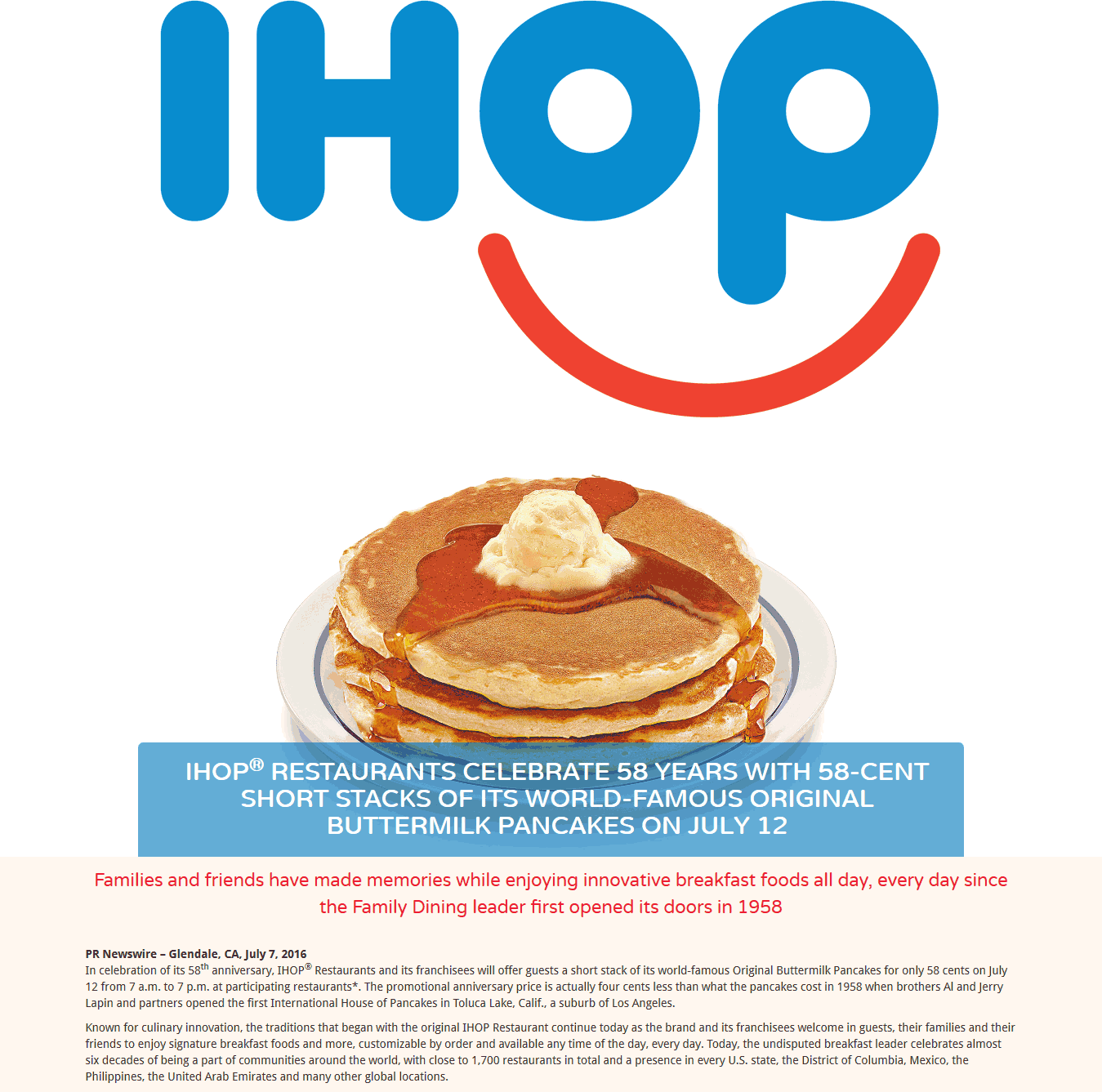 IHOP Coupon October 2016 58 cent pancakes Tuesday at IHOP