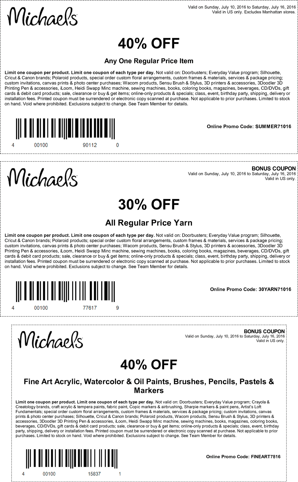 Michaels Coupon March 2018 40% off a single item at Michaels, or online via promo code SUMMER71016