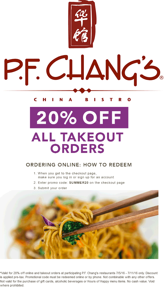 P.F. Changs Coupon April 2017 20% off online at P.F. Changs restaurants via promo code SUMMER20