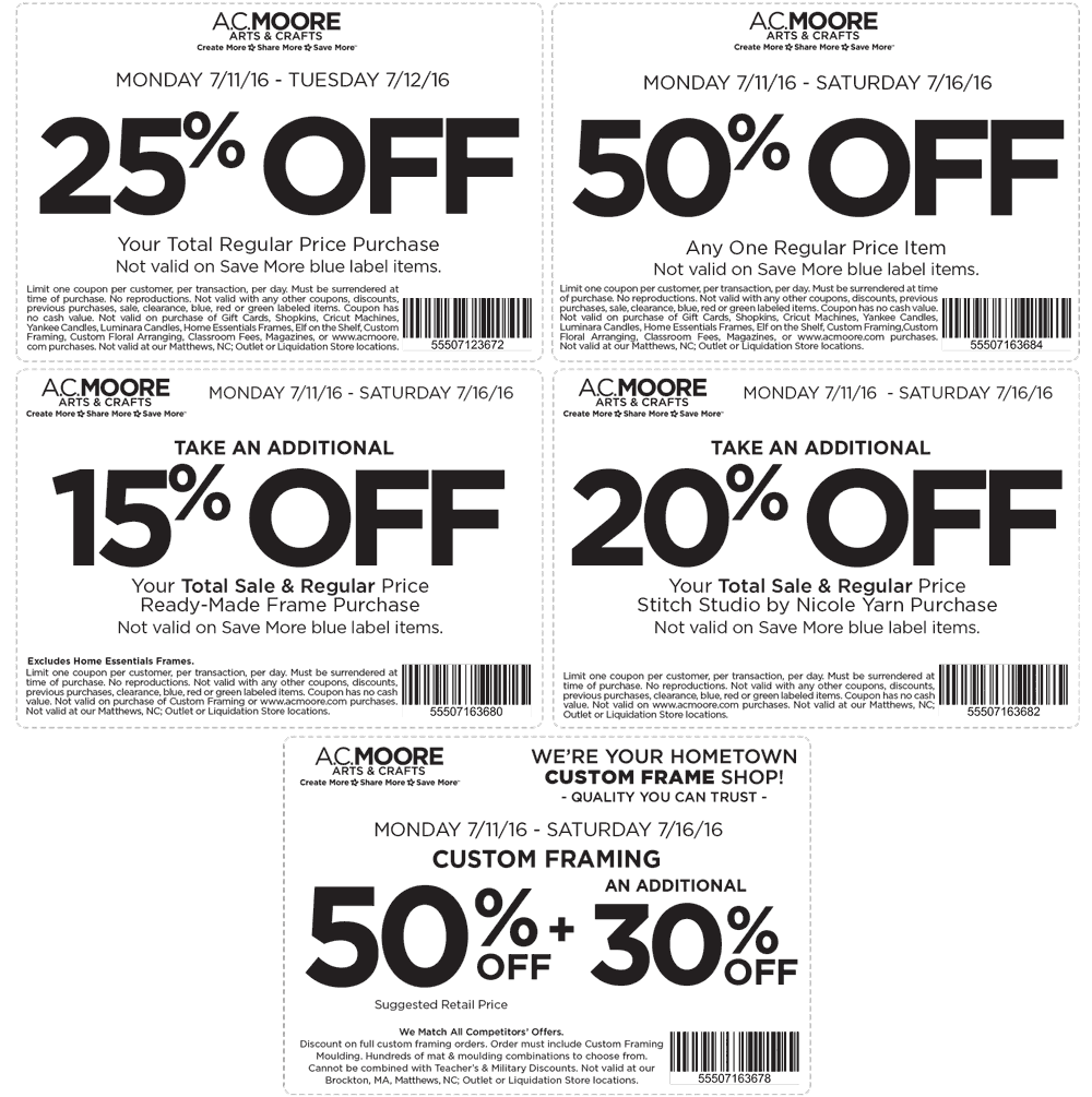 A.C. Moore Coupon December 2017 50% off a single item & more at A.C. Moore