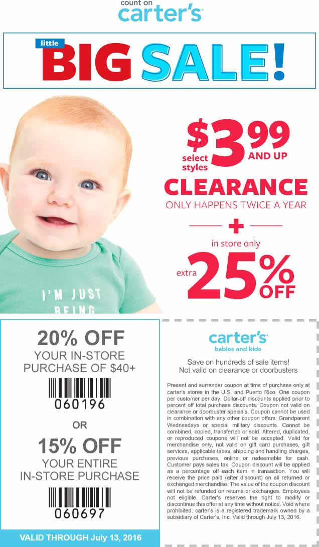 Carters Coupon October 2016 25% off & more at Carters, or online via promo code CART0716