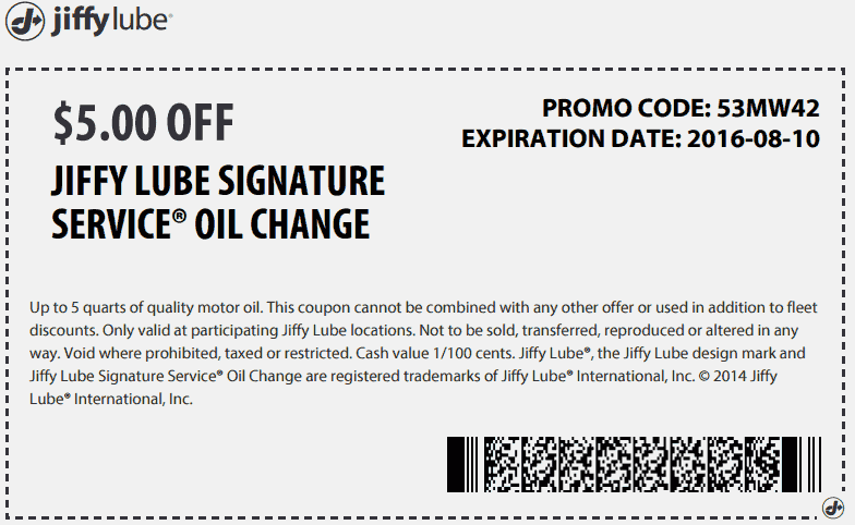 JiffyLube.com Promo Coupon $5 off an oil change at Jiffy Lube
