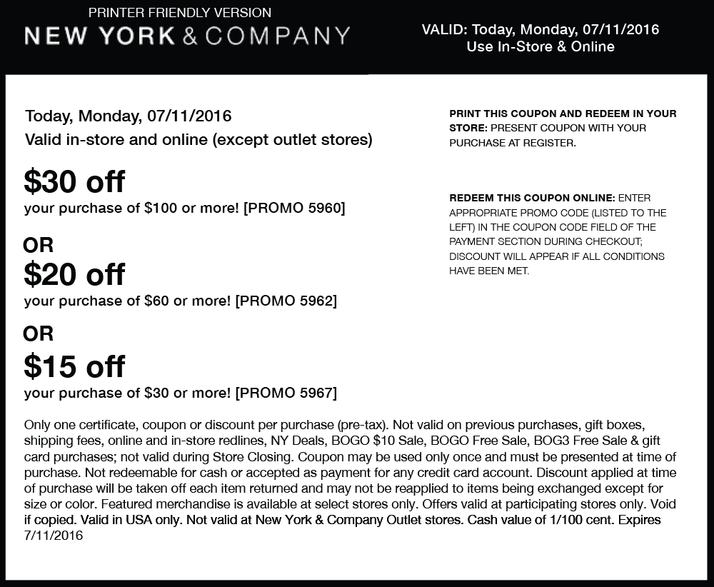New York & Company Coupon November 2017 $15 off $30 & more today at New York & Company, or online via promo code 5967