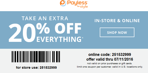 Payless Shoesource Coupon September 2017 20% off today at Payless Shoesource, or online via promo code 251532999