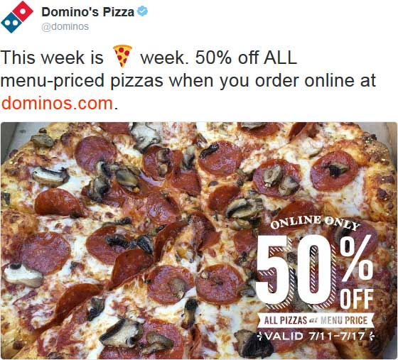 Dominos Coupon June 2017 50% off pizza online this week at Dominos