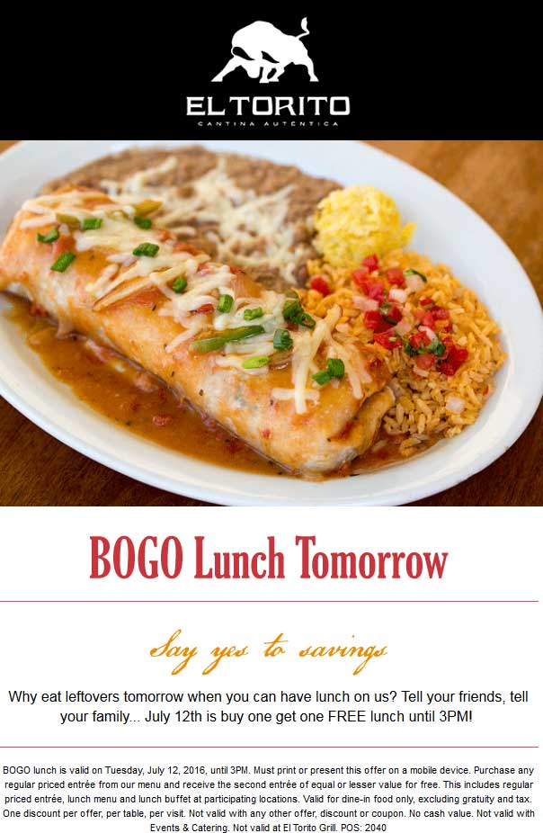 El Torito Coupon March 2017 Second lunch free today at El Torito