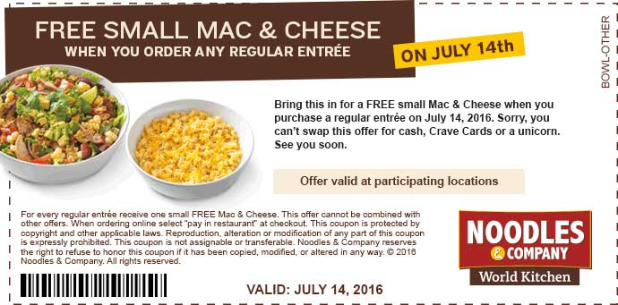 Noodles & Company Coupon July 2017 Free mac & cheese with your entree Thursday at Noodles & Company