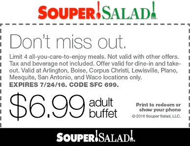 Souper Salad Coupon March 2018 $7 bottomless buffet at Souper Salad restaurants