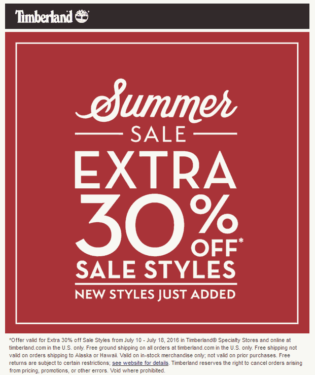 Timberland Coupon May 2018 Extra 30% off sale items at Timberland, ditto online