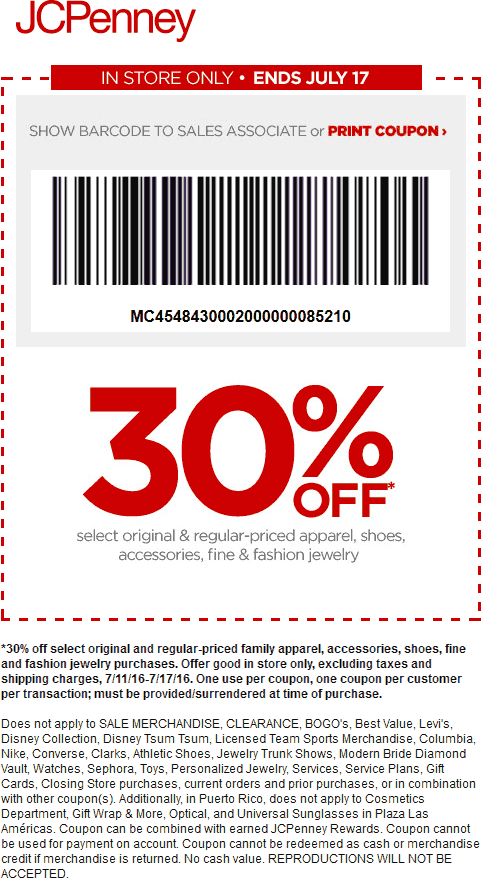 JCPenney Coupon October 2016 30% off apparel & shoes at JCPenney