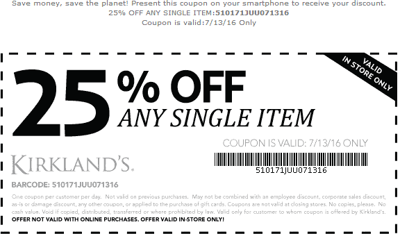 Kirklands Coupon March 2018 25% off a single item today at Kirklands