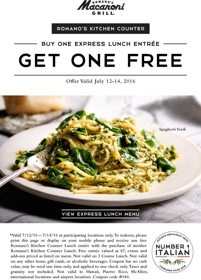 Macaroni Grill Coupon April 2018 Second lunch free at Macaroni Grill